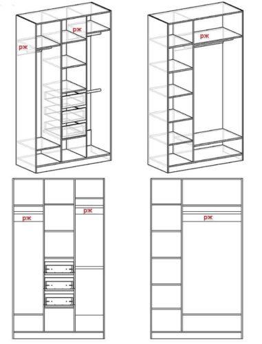 Схема трехстворчатого шкафа своими руками