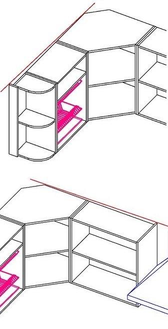 Развернутый угол на кухне можно скрыть по короткой стороне