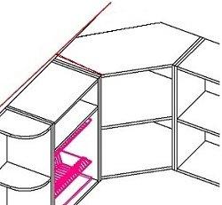 Тупой угол на кухне с трапециевидным шкафом
