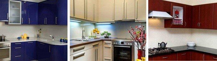 Дизайн кухонного гарнитура при развернутом угле