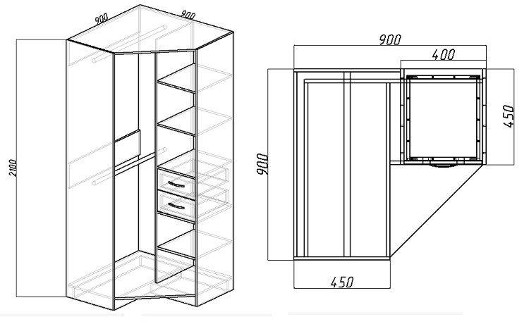 встроенный угловой шкаф чертежи и схемы