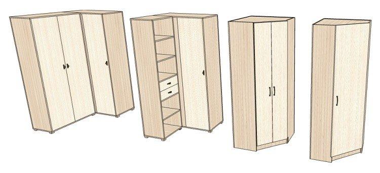 Модели плательных угловых шкафов