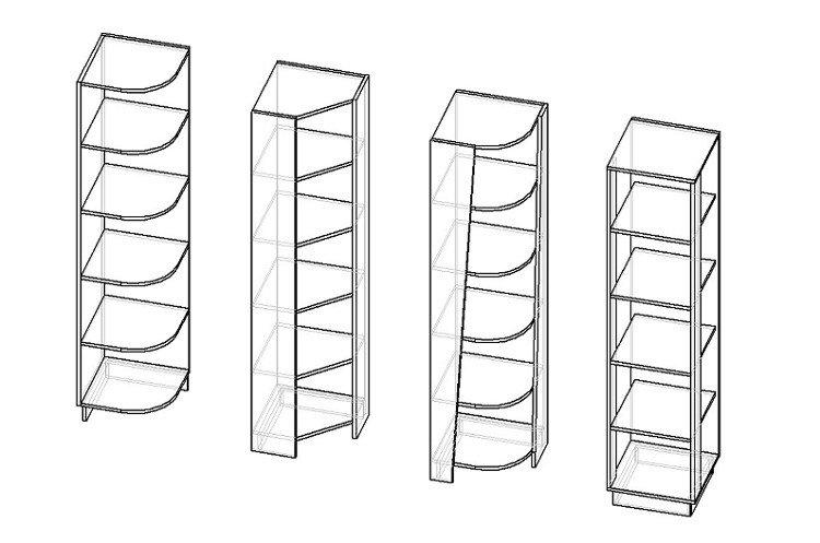 Открытый угловой стеллаж разных конструкций
