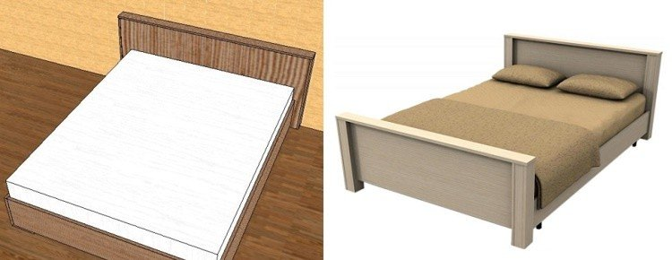схема и чертеж двуспальной кровати своими руками