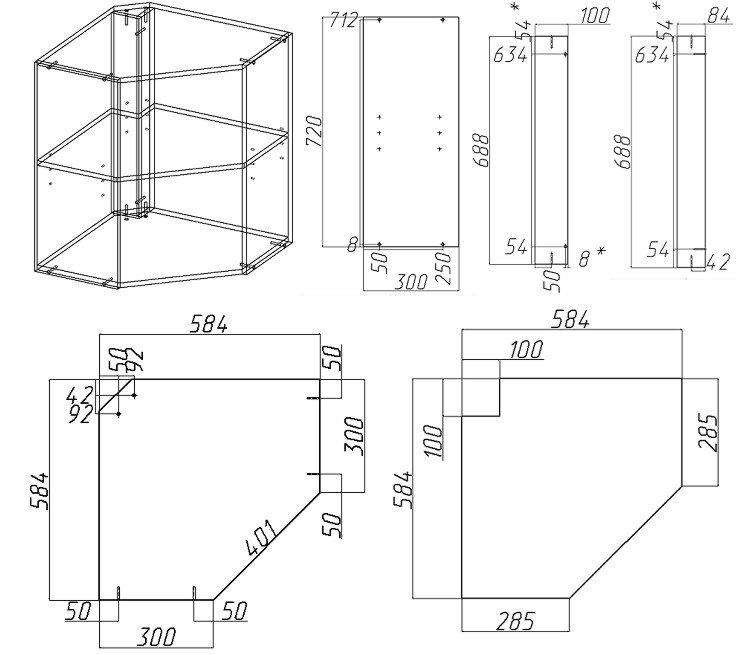 навесной кухонный шкаф своими руками схемы и чертежи сборки
