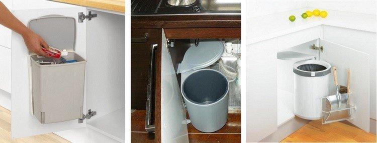 угловая нижняя секция кухни со встроенным ведром