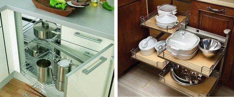 нижний угловой модуль кухни с волшебным уголком