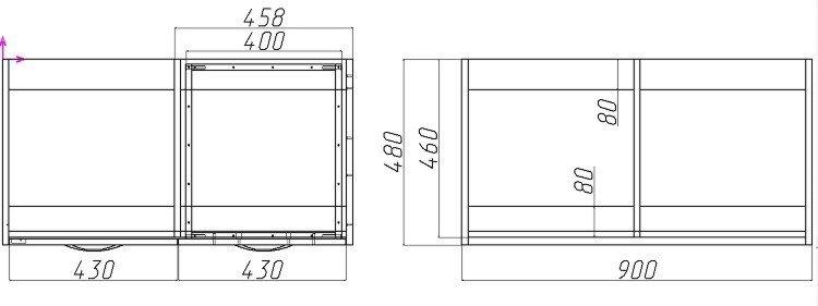 комод с ящиками и дверцей чертеж
