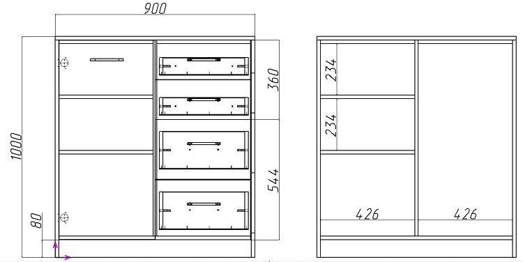 комод с ящиками и дверцей схема