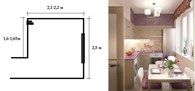 чертеж плана кухни хрущевки