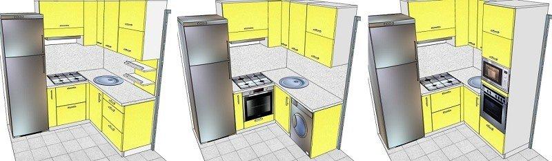 пример чертежа гарнитура маленькой кухни