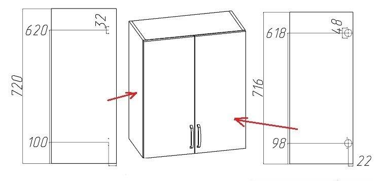 установка накладных мебельных петель