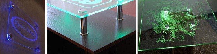 светодиодная подсветка стекла в мебели