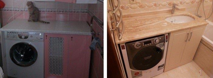 Встроенный шкаф для стиральной машины в ванной