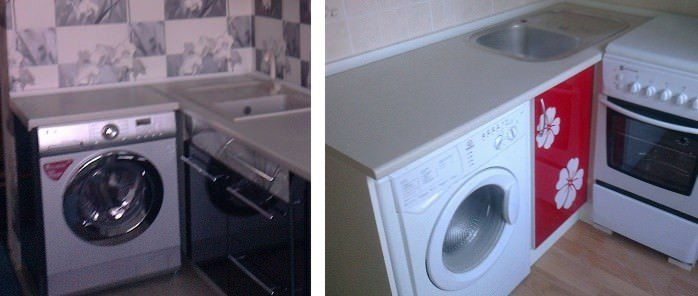 Угловые кухни со встроенной стиральной машиной