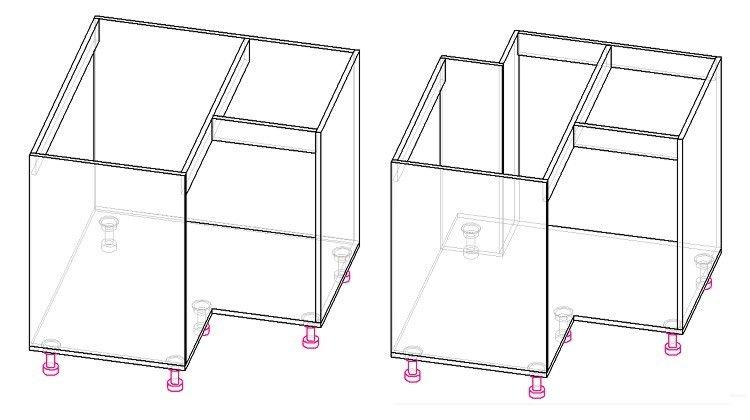 угловой шкаф кухни чертеж
