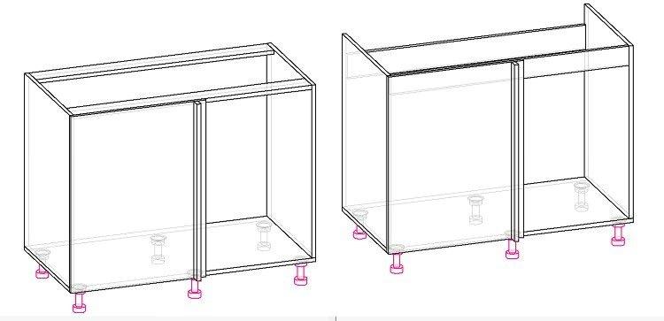 угловой шкаф кухни схема
