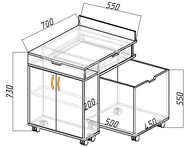 чертеж с размерами рабочей зоны кровати чердака