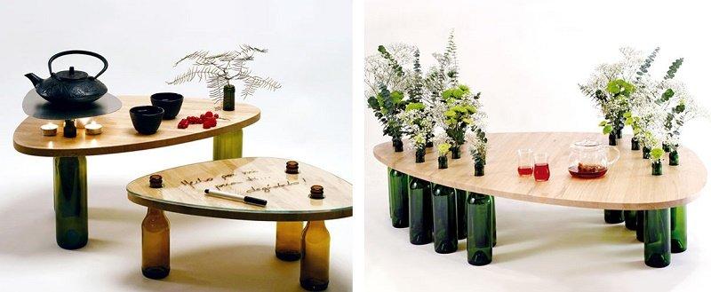 стол для дачи из бутылок своими руками