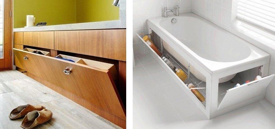 идеи хранения под ванной