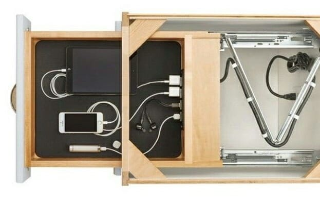 Как спрятать провода от компьютера и телевизора в выдвижном ящике