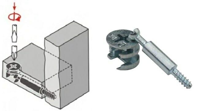 схема установки эксцентриковой стяжки