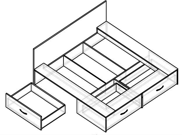 чертеж кровати-подиум с выдвижными ящиками
