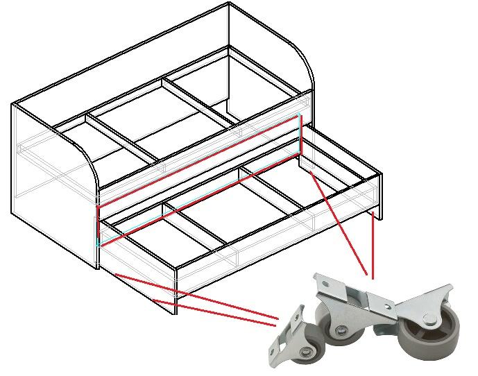 чертеж выдвижной кровати из подиума своими руками