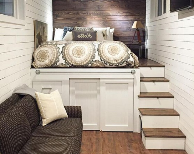 как сделать кровать-подиум в нише квартиры