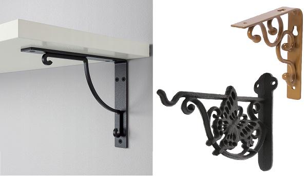 декоративные держатели для крепления деревянных полок к стене