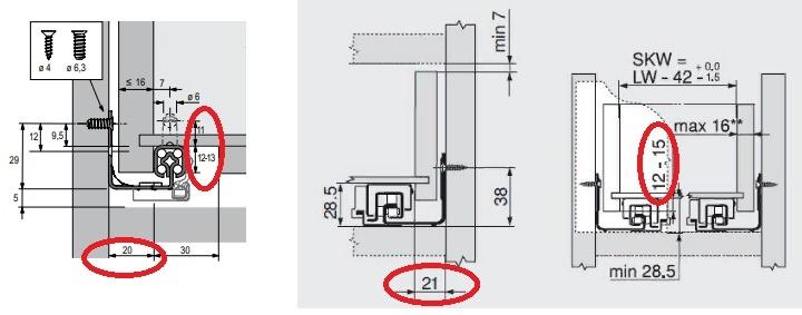 схема расчета ящика для направляющих скрытого монтажа