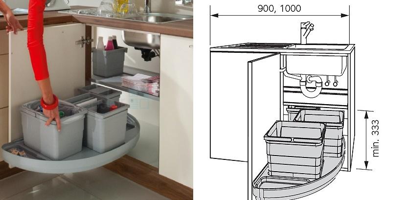 Про размеры шкафа под мойку с прямолинейной и угловой конфигурацией