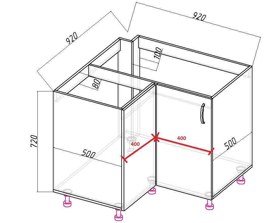 угловой напольный шкаф под мойку размеры