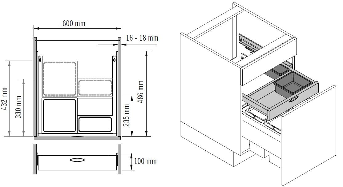 чертеж тумбы под мойку с размерами