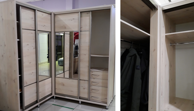 фото углового шкафа-купе для гостиной