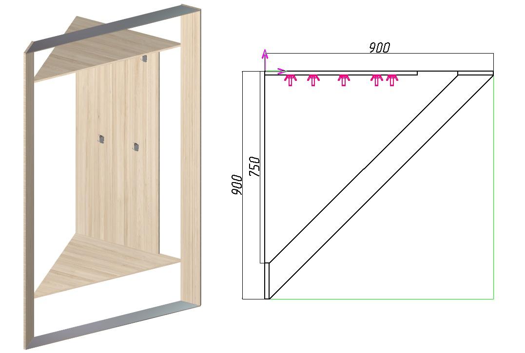 размеры треугольного шкафа-купе