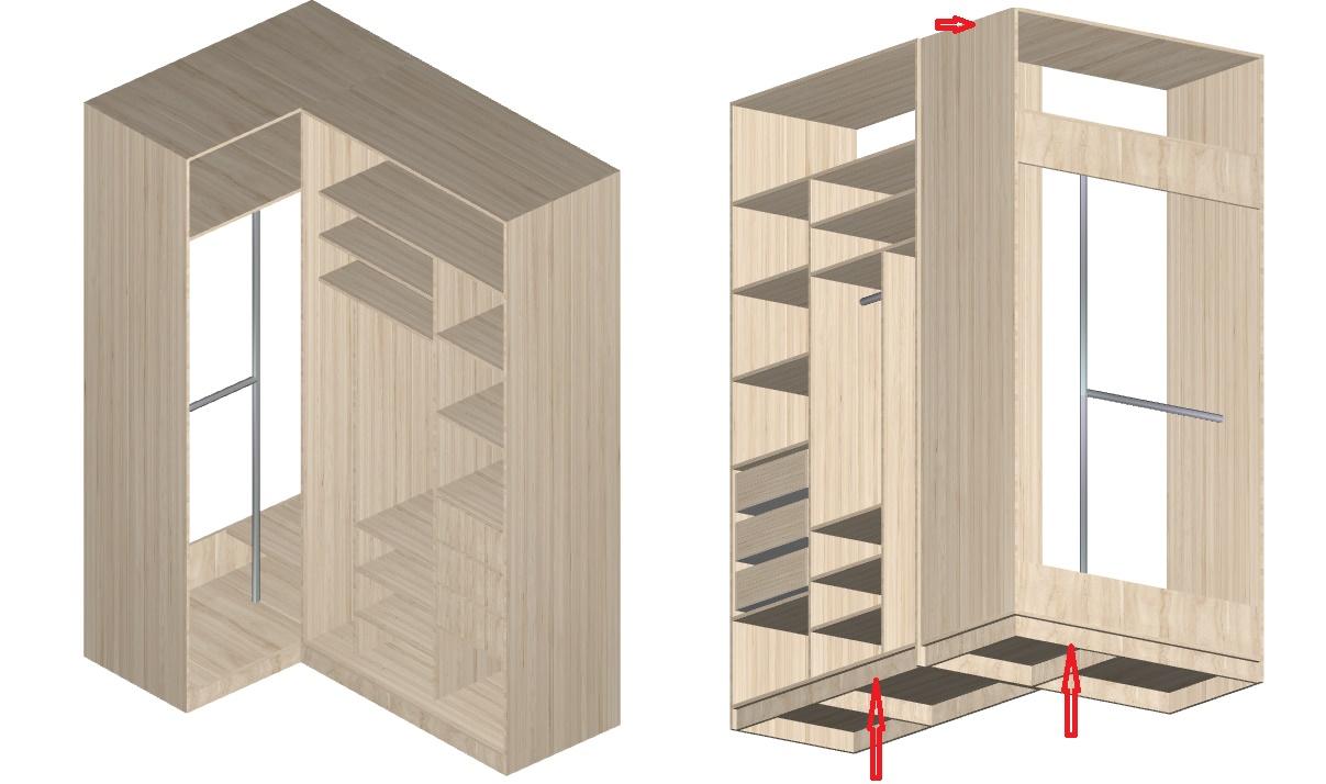 чертеж углового шкафа-купе