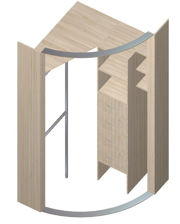 угловой шкаф-купе с радиусными фасадами в спальню