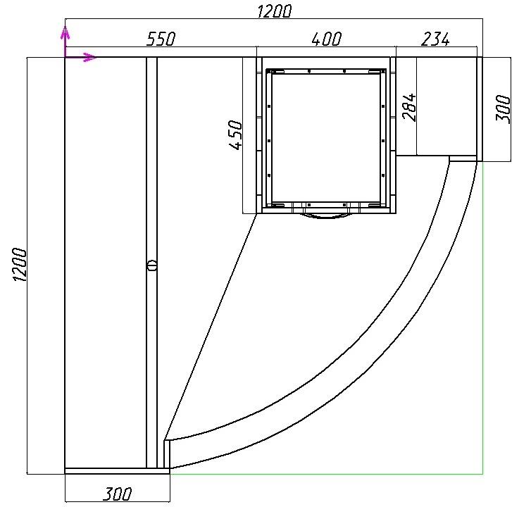 размеры углового шкафа-купе с радиусными фасадами